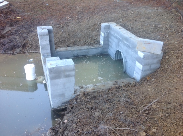 Water Pipe Structures : Rebuilding pond inlet outlet structures